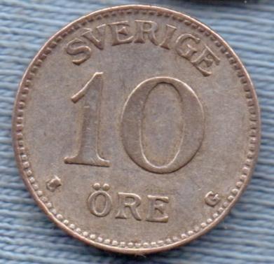 Suecia 10 Ore 1935 Plata * Gustaf V *