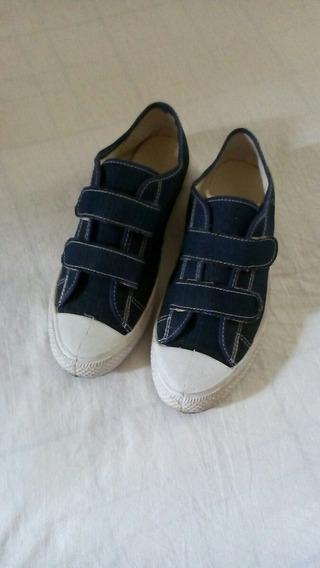 Tênis Jeans Com Velcro No. 37 - Frete Grátis!*