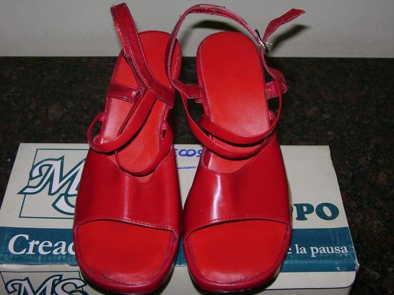 Sandalias Rojas Taco Chino Hermosas!!!