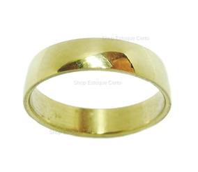 Anel Aliança Dourada Em Aço Inox Unisex