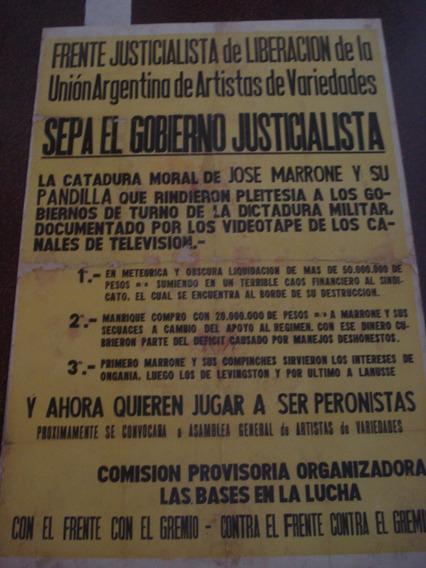 Antiguo Afiche Frente Just. Liberación Artistas Variedades