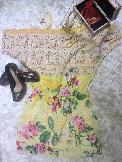 Vestido De Seda Estampado Na Cor Amarela Tam M