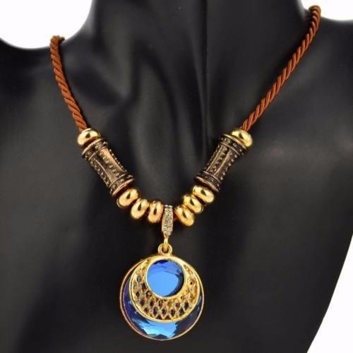 Lindo Cordao Corda Marrom Dourado Pingente Pedra Azul Strass