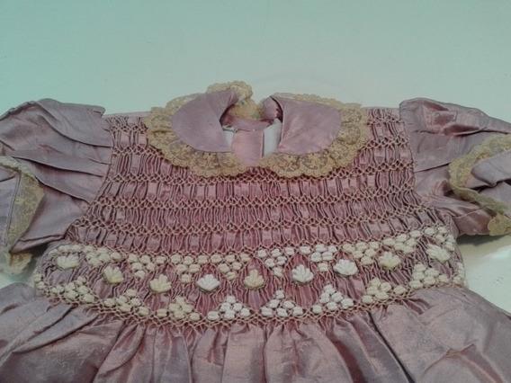 Vestido Fiesta Bordado Punto Smock Nido De Abeja Seda 1
