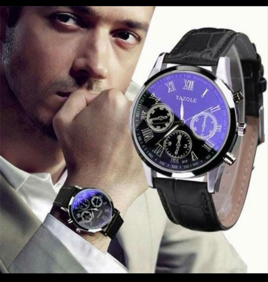 Relógio Masculino Luxo Pulseira Preta Couro Y317 Original