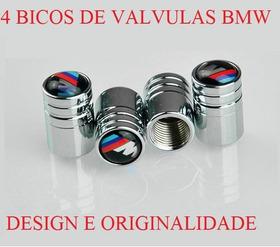 Kit 4 Bico De Valvula Emblema B M W Metal Cromado Universal