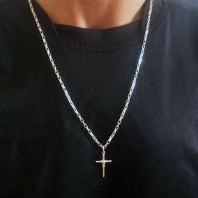 Cordão Masculino Cartier 60cm Crucifixo Manto Joias Em Prata
