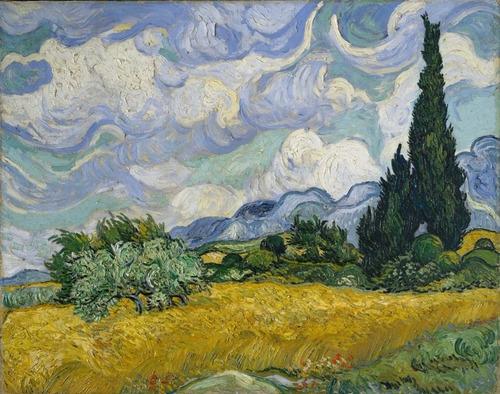 Van Gogh Foto Gravura 65cmx80cm Wheat Field With Cypresses
