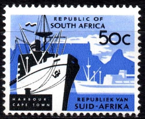 Sudáfrica 1964/71. 50c Puerto Cape Town, Filigrana R S A