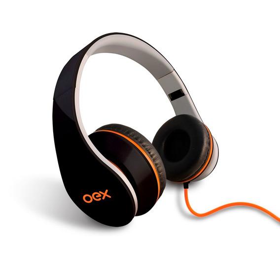 Oex Headphone Sense Dobrável Hp-100 Com Microfone Preto
