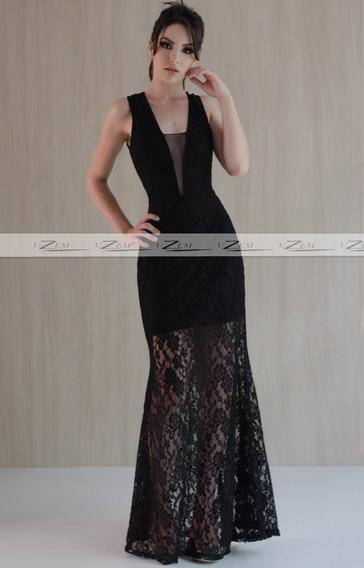 Vestido Longo Renda Decote Tule Madrinha Casamento Formatura