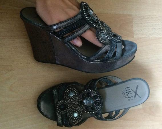 Zapatos Plataformas Bke Sole Piel Fina Pedreria Originales!!