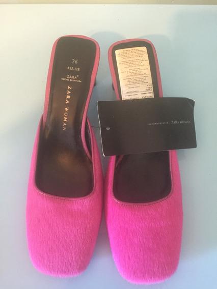 Zapatos Zara De Piel Fucsia ! Importados Únicos!