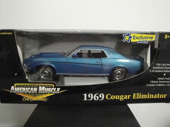 Mini Ford Mercury Cougar Eliminator 1969 Blue 1:18 Ertl