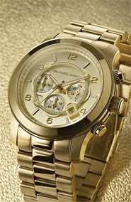 Relógio Michael Kors Mk8077 Dourado Gold Oversize
