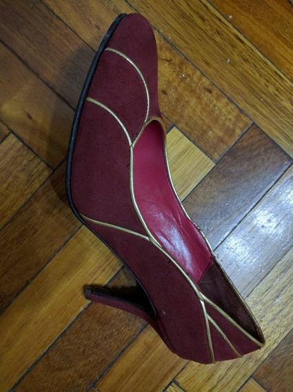 Zapatos Sofi Martire Bordó Con Dorado 37