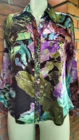 Camisa Feminina Seda Cetim Floral Tamanho M
