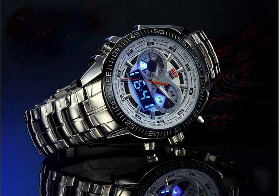 Relógio Masculino Importado De Aço Analógico/digital Branco