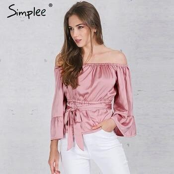 Simplee Apparel Sexy Fora Do Ombro Plissado Arco Camisa