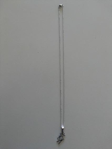 Corrente Fina Aço Inox 316l E Pingente Gatinha(cor Prata)