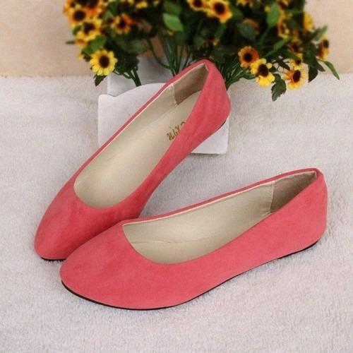 Flats Dama Terciopelo Balerina Zapatos Envio Gratis 24 Y24.5