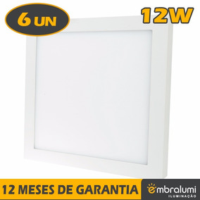 6x Painel Plafon Premium Luminária Sobrepor Teto Led 12w