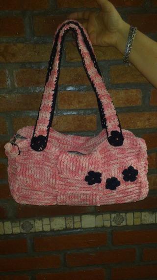 Cartera Al Crochet Forrado Artesanal Primaveral