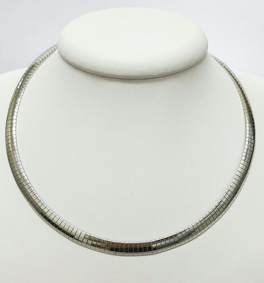 Colar Em Aço Inoxidável Prata Espelhado Tipo Cobra