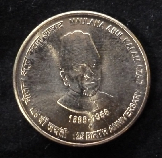 India Moneda 125 Aniv. Nac. Maulana Abul Kalam 5 Rupias 2014
