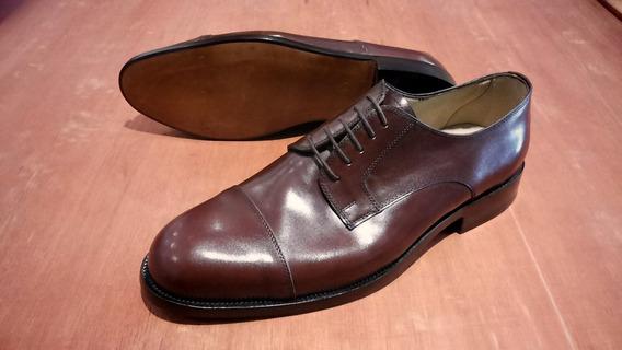 Zapato Fino Vestir Cuero Anilina Marron Cosido Liberty 802