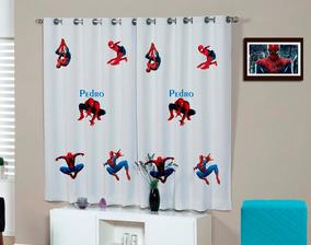 Cortina Infantil Homem Aranha Personalizada 2,20 X 1,40