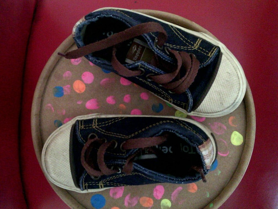 Zapatillas Topper De Jean Azul Con Costura Ocre. Numero 24.