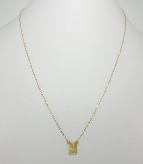 Escapulário 70cm Ouro 18k Cordão Cadeado Medalhas Dupla Face