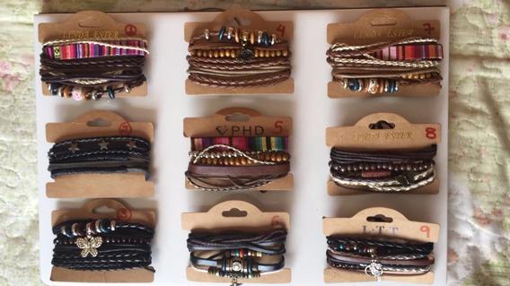 Pulseira Bracelete Couro Ajustavel Feminino Peças Exclusivas