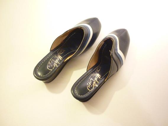 Zapato Dama Sin Talón T/chinela 37 En Color Azul.(sin Uso).