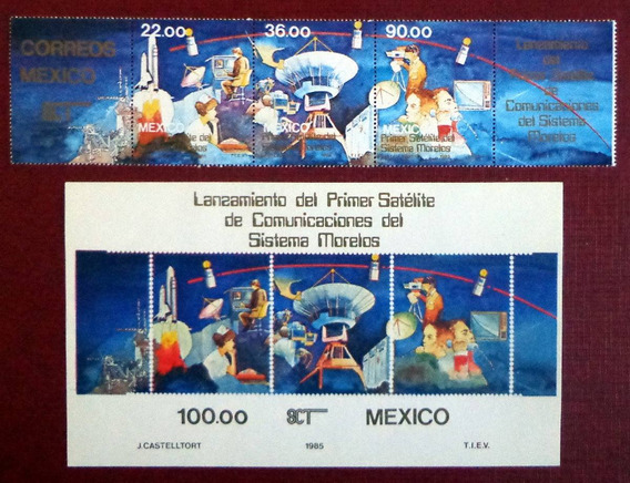 México, Tira Horizont + Bloque 1er Satélite 1985 Mint L7548