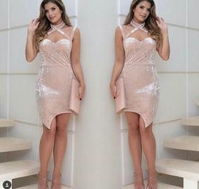 Vestido Veludo Blogueira P E M Varias Cores