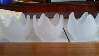 Trío Portavelas Cristal En Forma De Loto