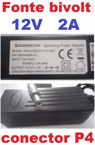 Fonte Sagemcom 12v P4 Xkd-z2000ic Cftv Fita Led Modem Câmera