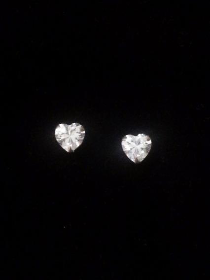 Brinco De Prata 925 Com Coração Zircônia