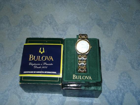 Relogio Bulowa Quartz Mixto Ouro/inox Calendario