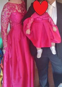 Vestido Mãe E Filha Rosa Pink Tam.38 E 7 Meses Saia Em Tafet