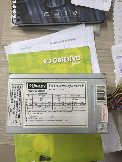 Fonte Atx 24pinos Sata Maxxtro 450w Model Atx-450
