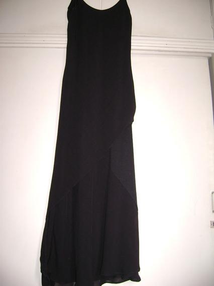 Vestido De Gasa Largo Con Sobrefalda Irregular
