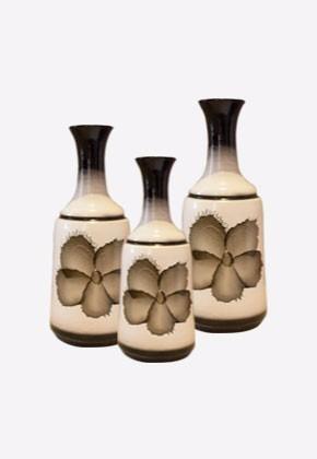 Trio De Vasos Cerâmica Branco Flor