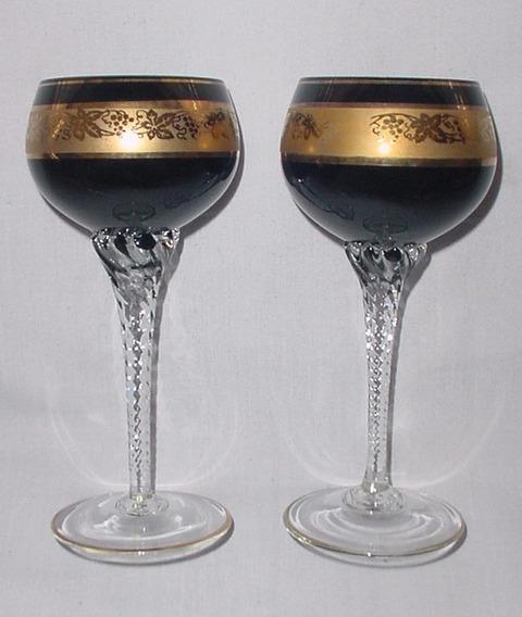 Par (2) Copas Cristal Veneciano Color Negro Oro 17.50 Cm