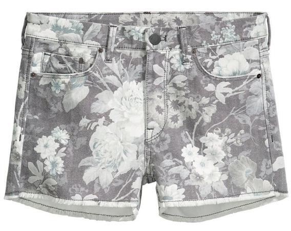 Shorts De Jean Mujer Diseño De Flores H&m Nuevos