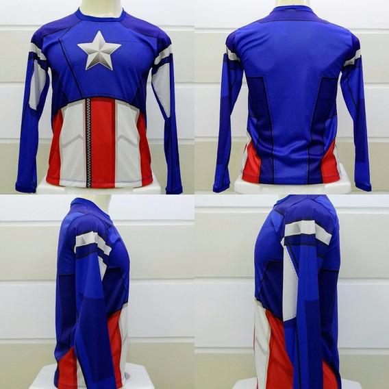 Camiseta Capitão América Os Vingadores 3d Manga Longa