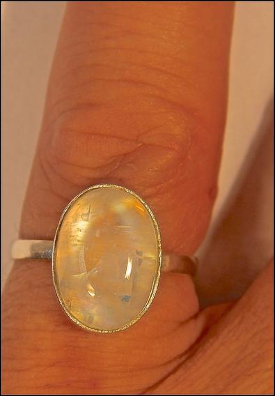 Rsp J4124 Anel Prata 950 Pedra Da Lua Mística Natural