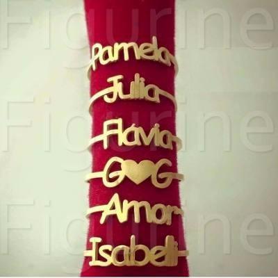 Caixinha+ Anel Nome Personalizado Em Prata Banhado A Ouro !
